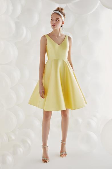 Sarı Saten Askılı Kısa Elbise - Oleg Cassini