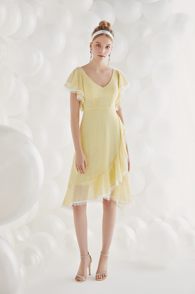 Sarı Şifon Kısa Kollu Midi Boy Elbise - Oleg Cassini