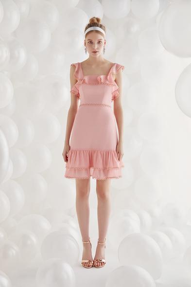 Şifon Somon Rengi Askılı Kısa Elbise - Oleg Cassini