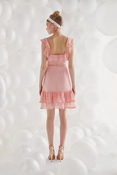 Şifon Somon Rengi Askılı Kısa Elbise