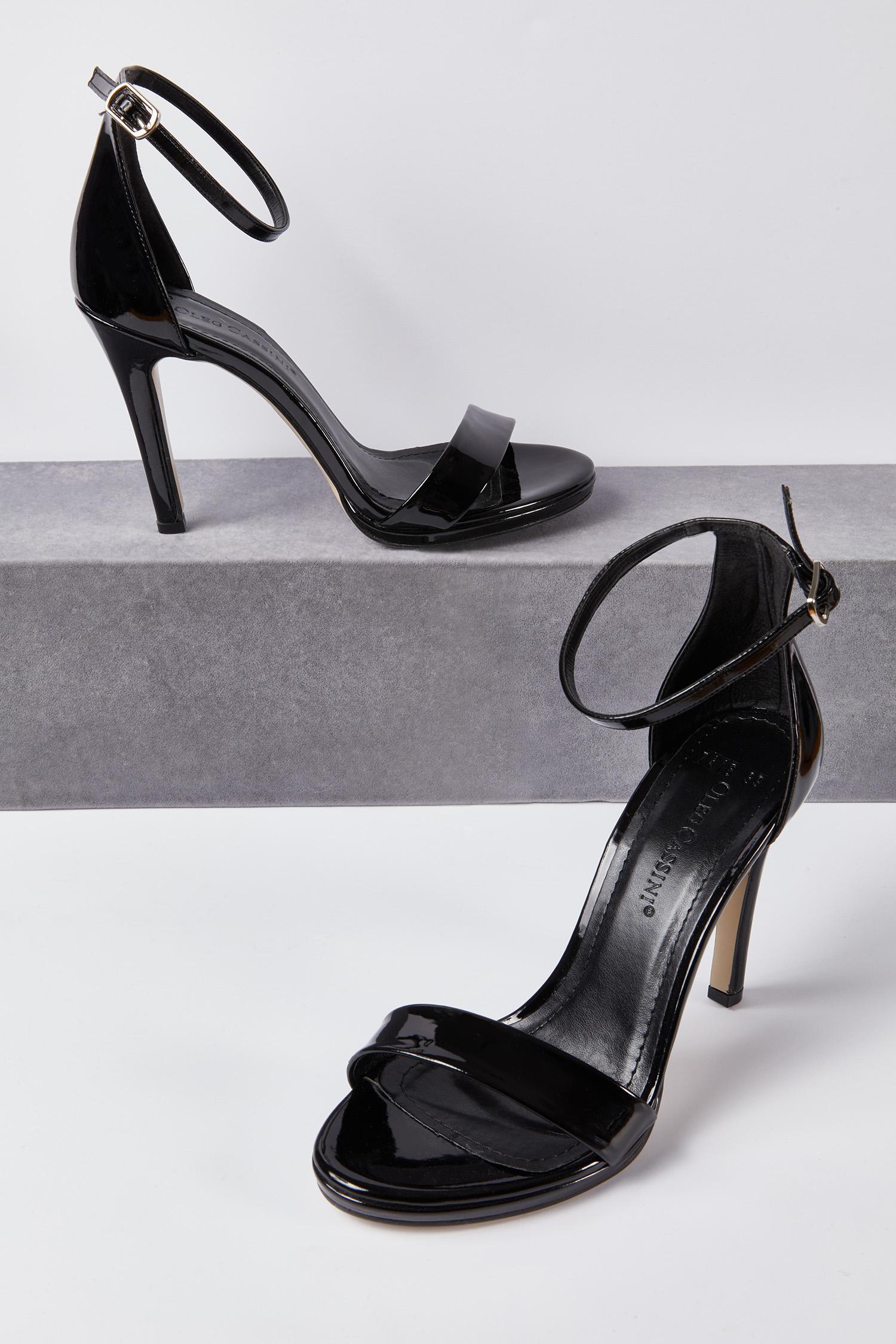 Abiye Ayakkabısı İnce Topuklu Bantlı Siyah