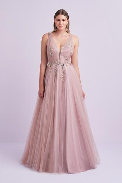 Viola Chan - Açık Eflatun Askılı Tül Etekli Uzun Büyük Beden Abiye Elbise