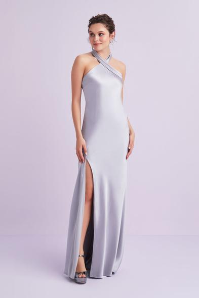 Açık Leylak Rengi Halter Yaka Saten Uzun Elbise