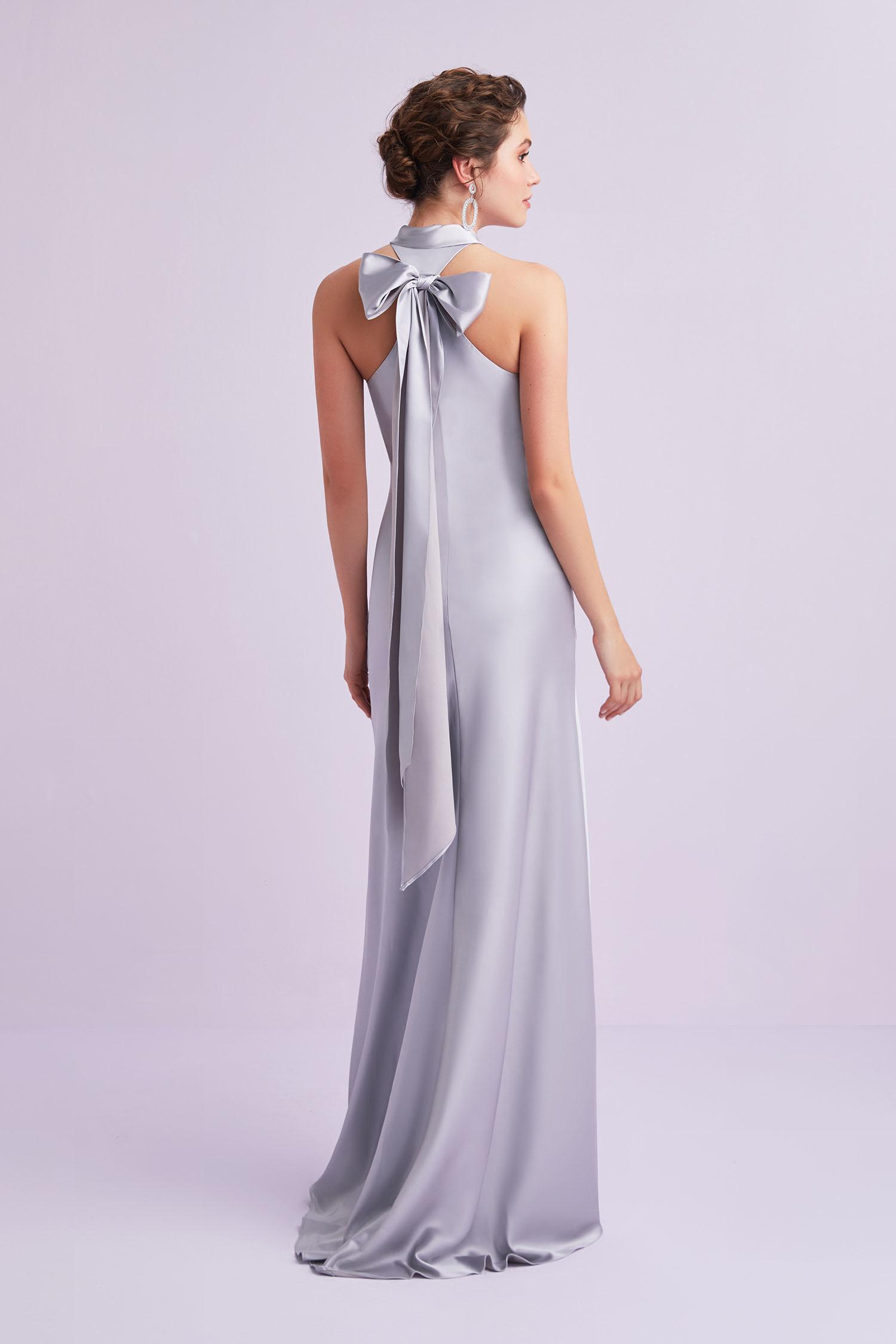 Açık Leylak Rengi Yüzücü Yaka Saten Uzun Abiye Elbise - Thumbnail