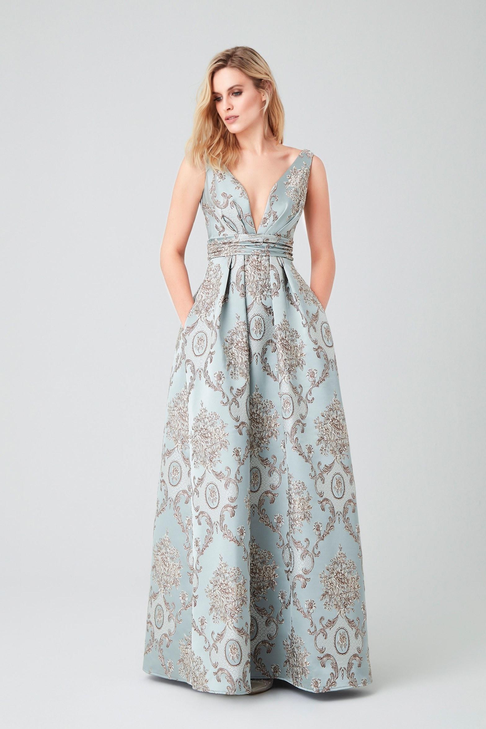Açık Mavi Askılı Brokar Uzun Abiye Elbise - Thumbnail