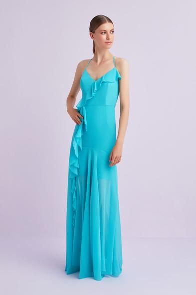 Açık Mavi Askılı Çapraz Bağlamalı Şifon Abiye Elbise