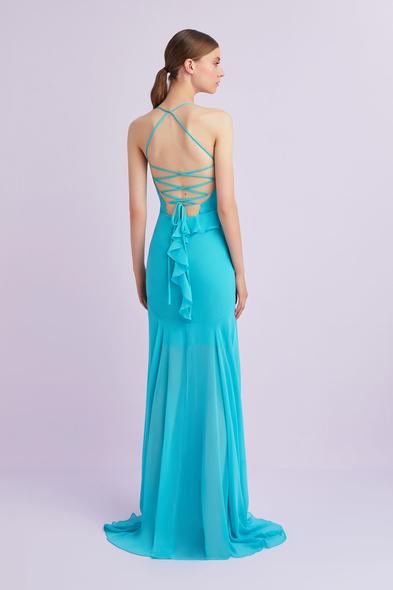 - Açık Mavi Askılı Çapraz Bağlamalı Şifon Abiye Elbise - Oleg Cassini
