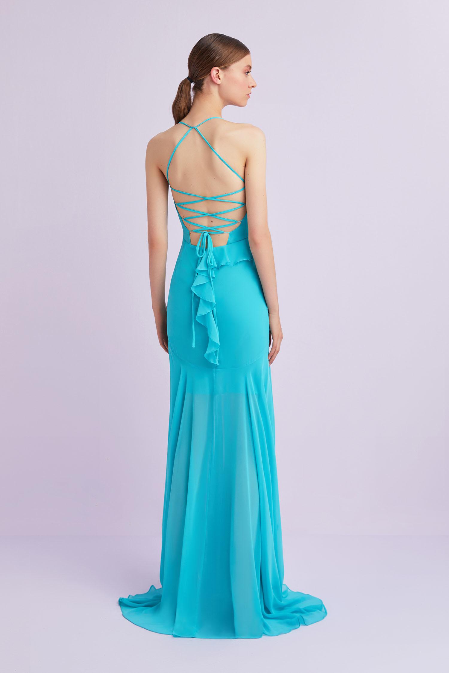 Açık Mavi Askılı Çapraz Bağlamalı Şifon Abiye Elbise - Thumbnail