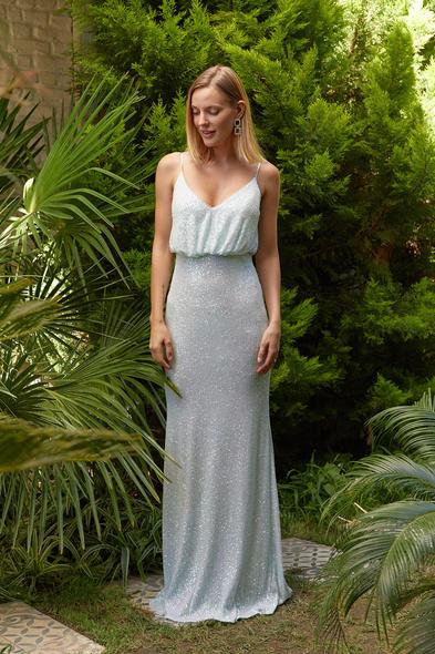 Alfa Beta - Süt Mavisi İp Askılı Üstü Dökümlü Payet Uzun Abiye Elbise