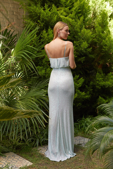 Alfa Beta - Açık Mavi İnce Askılı Payet İşlemeli Uzun Elbise (1)