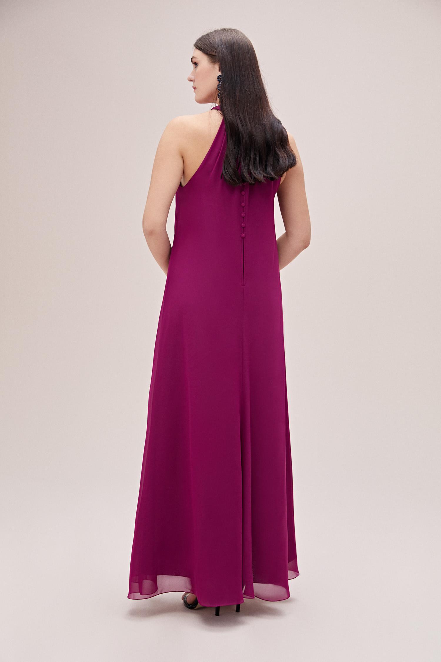 Açık Mürdüm Rengi Halter Yaka Şifon Büyük Beden Uzun Elbise - Thumbnail