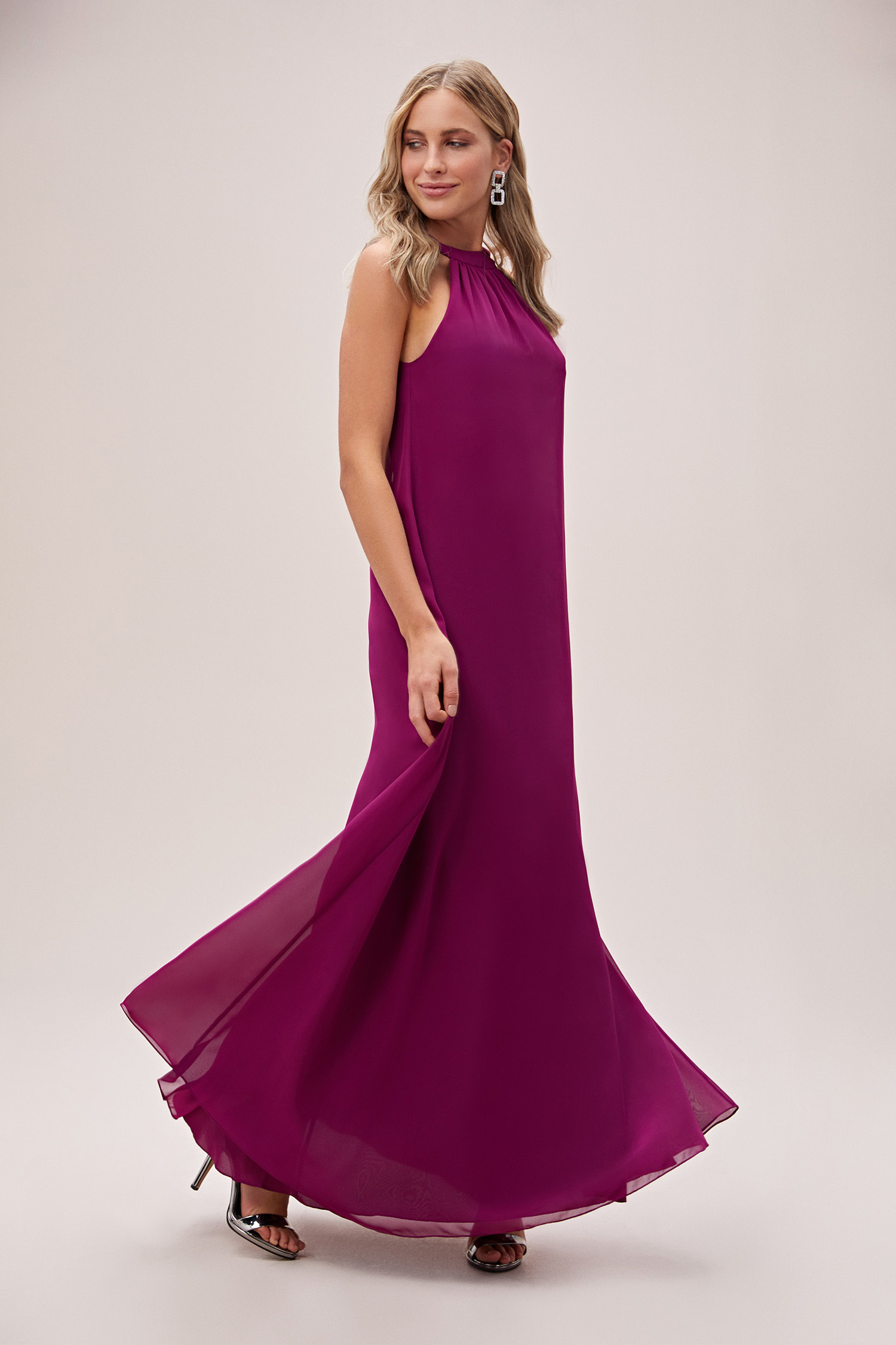 Açık Mürdüm Rengi Halter Yaka Şifon Uzun Abiye Elbise - Thumbnail