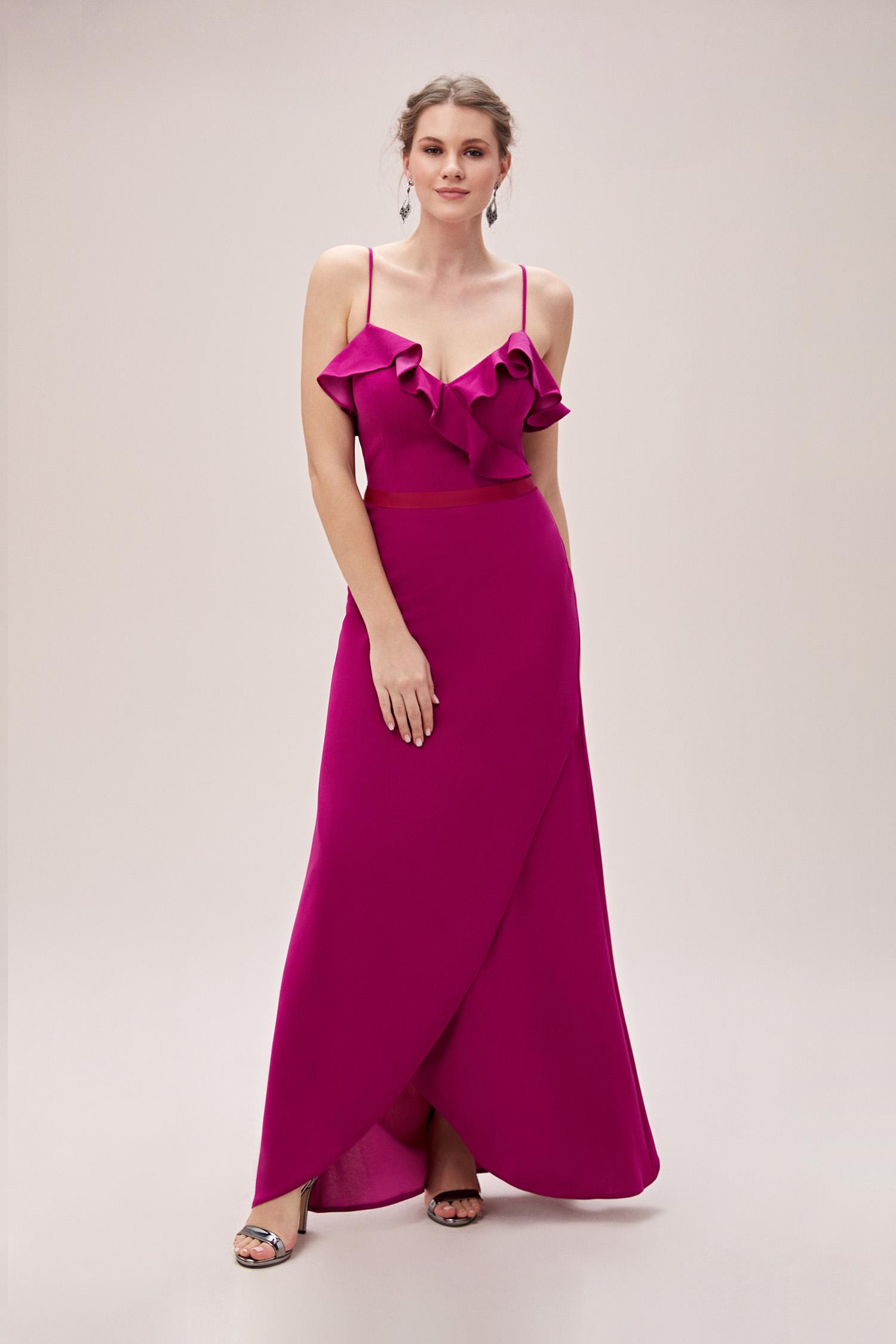 Açık Mürdüm Rengi İnce Askılı Yaka Detaylı Uzun Büyük Beden Abiye Elbise - Thumbnail