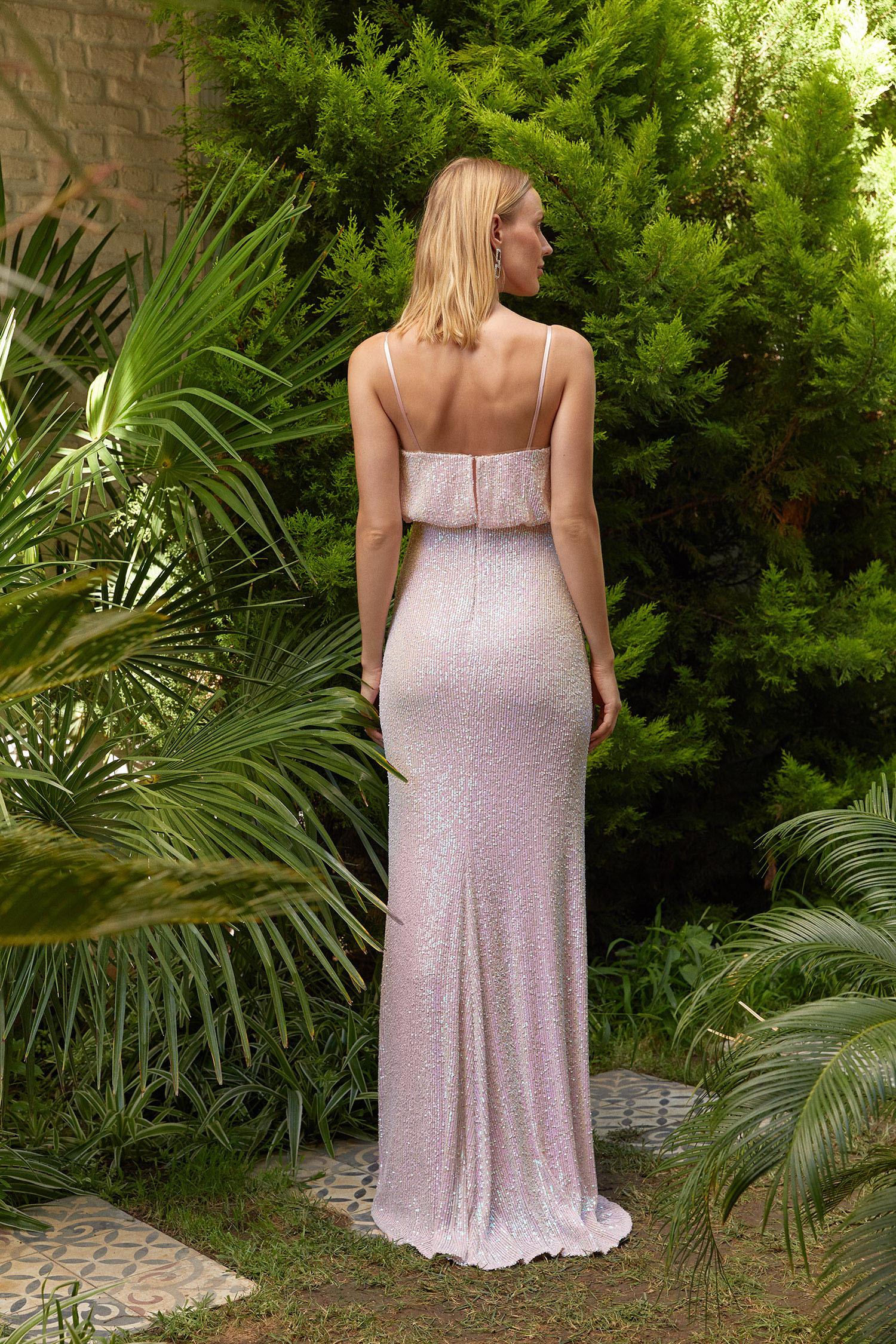 Açık Pudra İnce Askılı Payet İşlemeli Uzun Elbise - Thumbnail