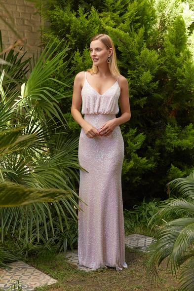 Alfa Beta - Açık Pudra İnce Askılı Payet İşlemeli Uzun Elbise