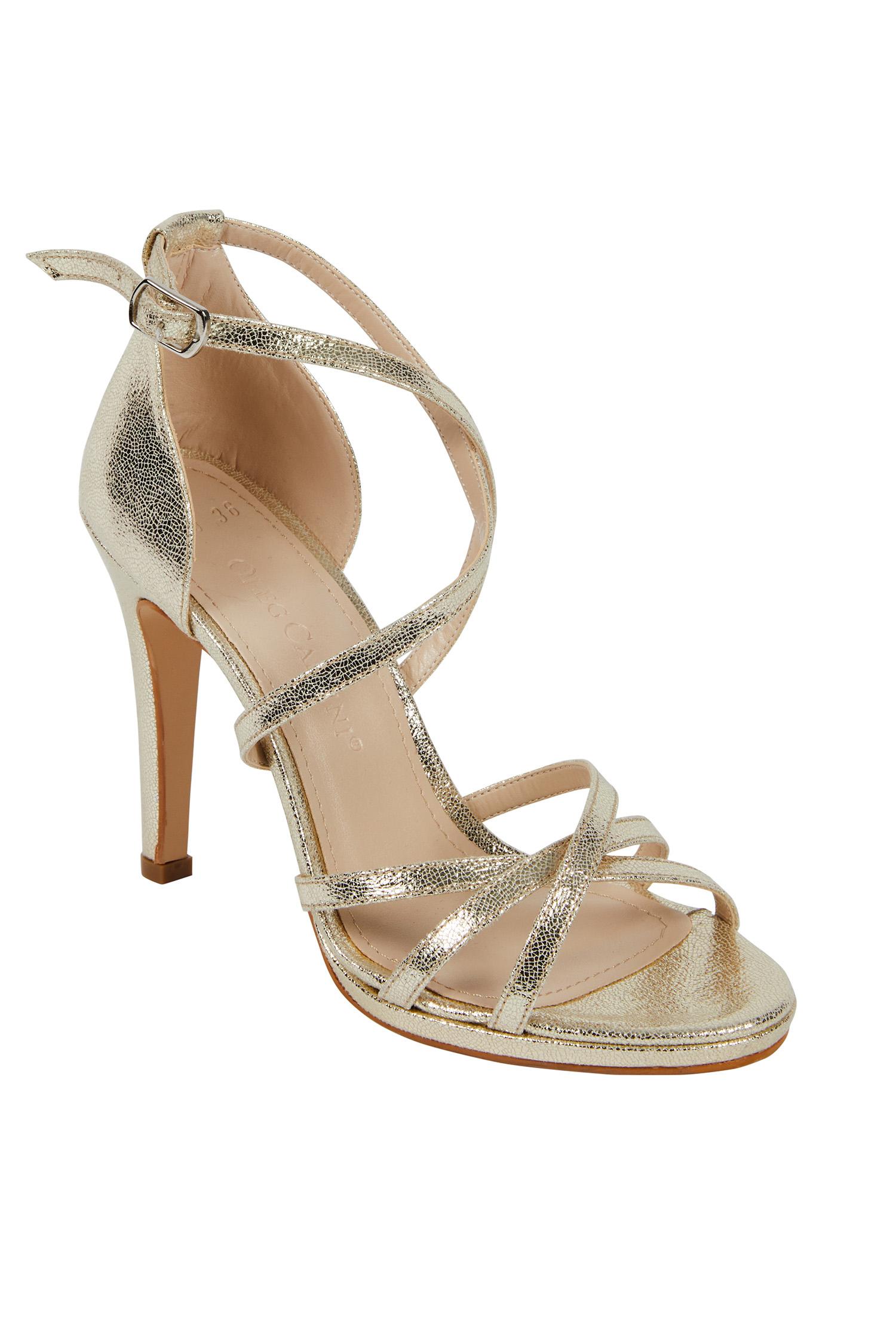Altın Rengi İnce Bantlı Topuklu Abiye Ayakkabı