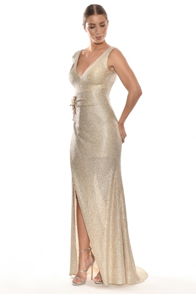 Alfa Beta - Altın Rengi Kalın Askılı V Yaka Yırtmaçlı Uzun Büyük Beden Elbise (1)