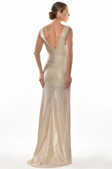 Alfa Beta - Altın Rengi Kalın Askılı V Yaka Yırtmaçlı Uzun Elbise (1)