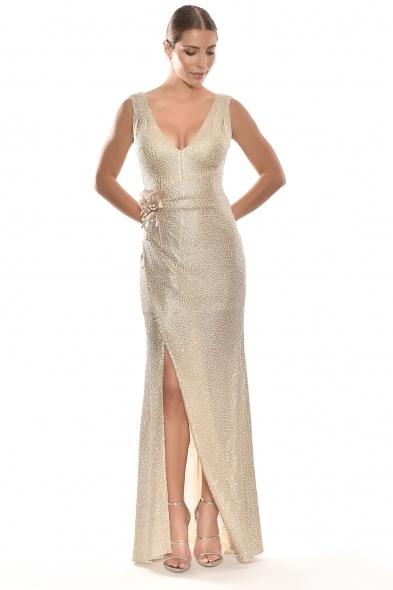 Alfa Beta - Altın Rengi Kalın Askılı V Yaka Yırtmaçlı Uzun Elbise