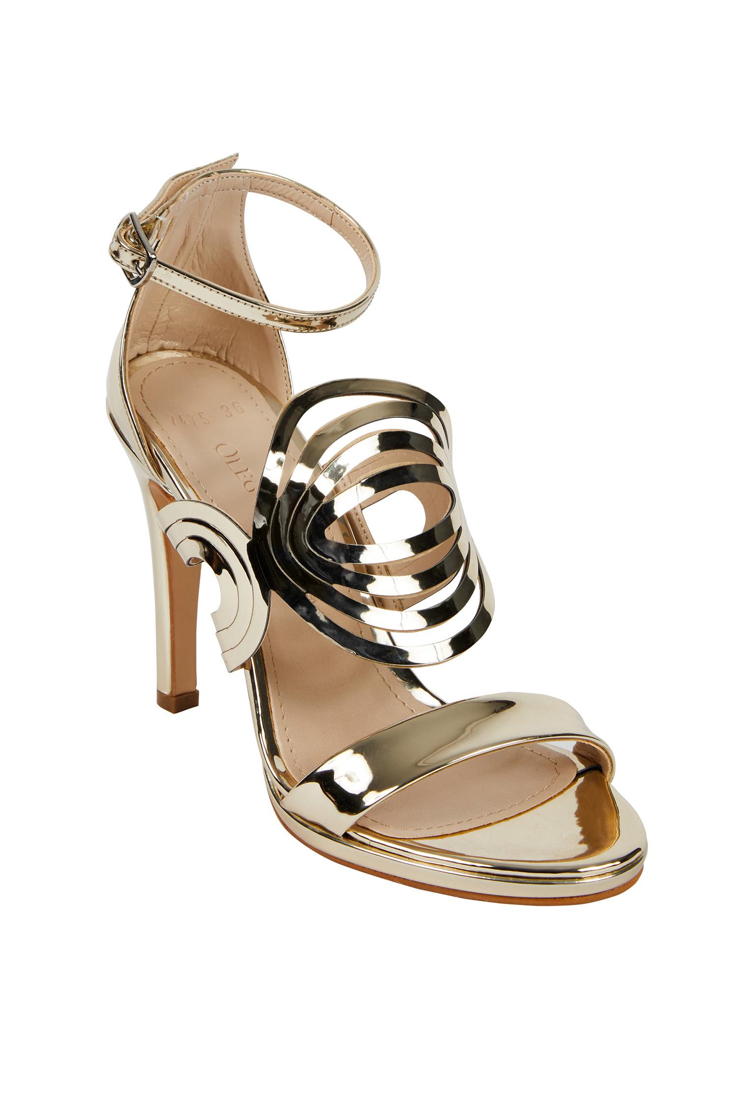 Altın Rengi Yüksek Topuklu Abiye Ayakkabı