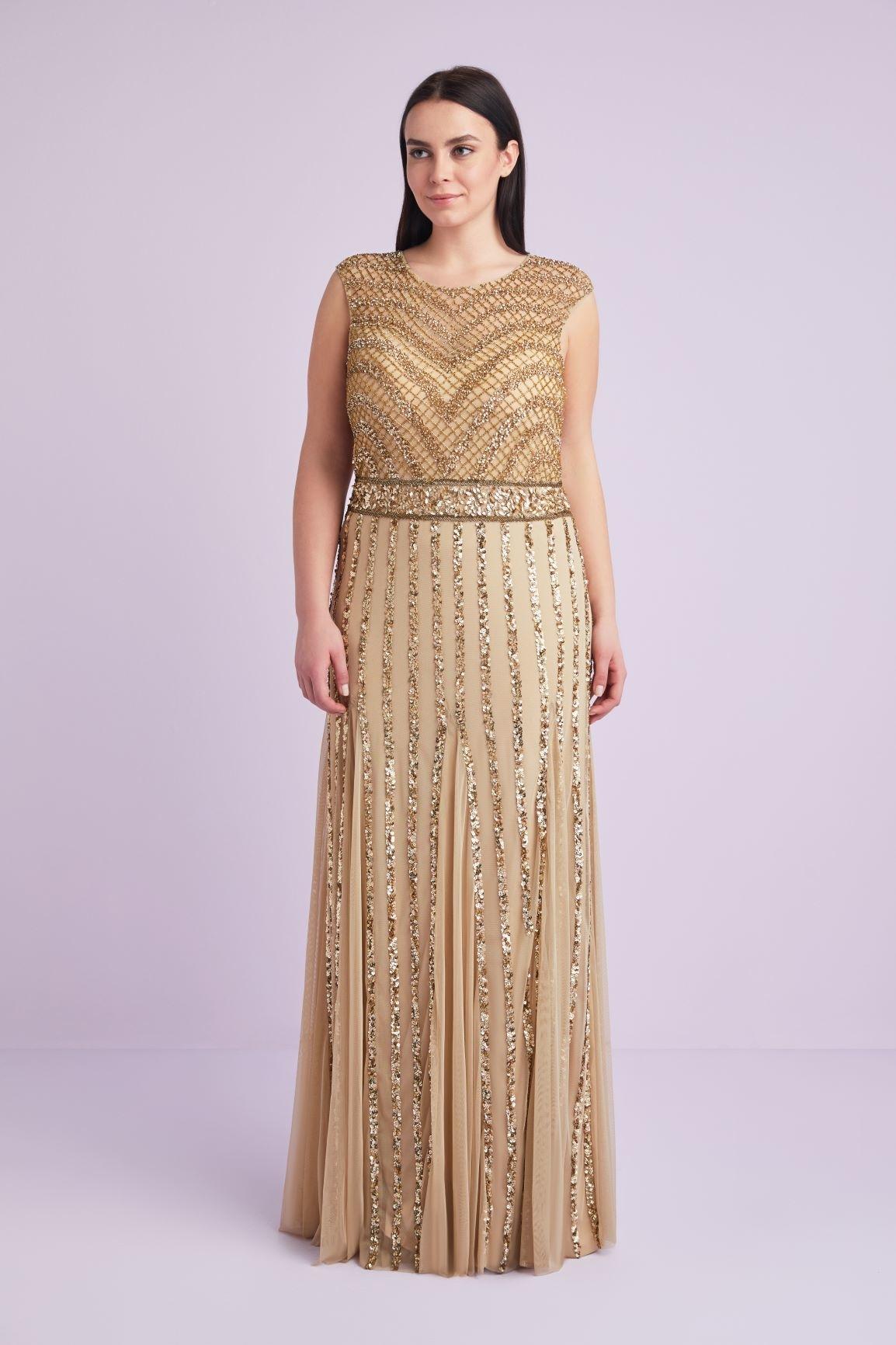 Altın Sarısı Kısa Kollu Payetli Büyük Beden Uzun Elbise - Thumbnail