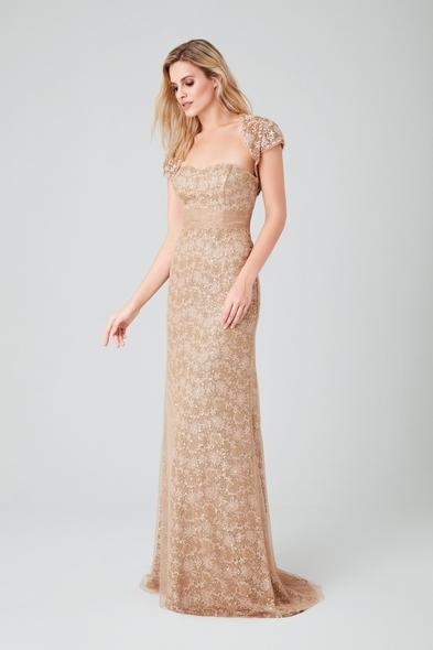 Viola Chan - Altın Sarısı Straplez Dantelli Bolerolu Uzun Gece Elbisesi