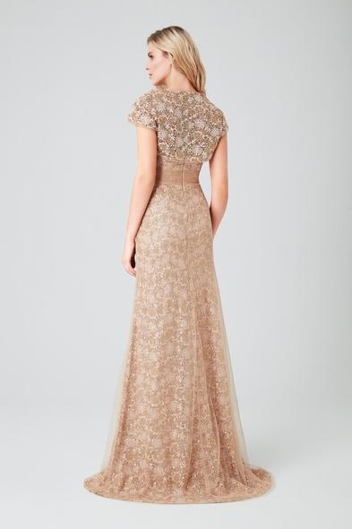 Viola Chan - Altın Sarısı Straplez Dantelli Bolerolu Uzun Gece Elbisesi (1)