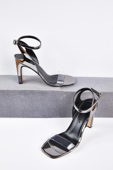 OLEG CASSINI TR - Antrasit Şeffaf Bantlı Dolgu Topuklu Gelin Ayakkabısı