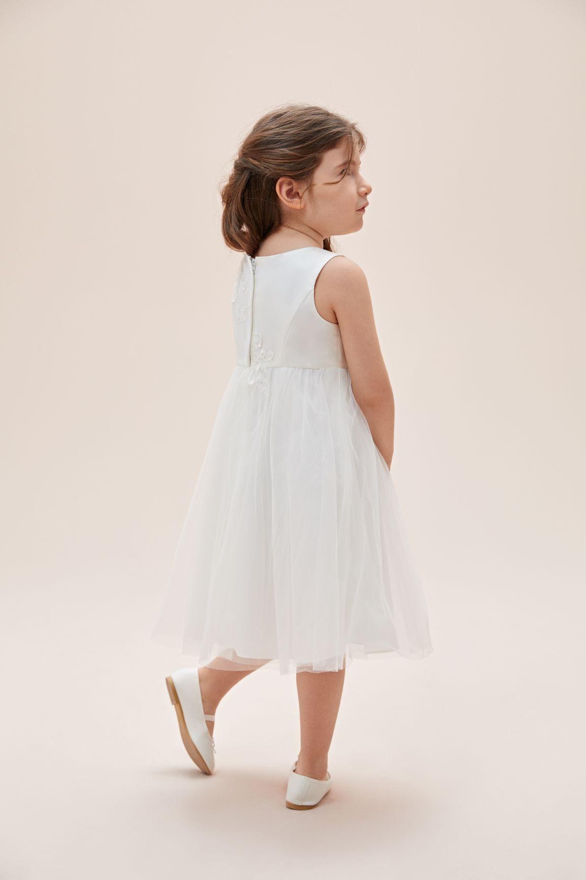 Askılı Çiçek İşlemeli Tül Etekli Çocuk Elbisesi - Thumbnail