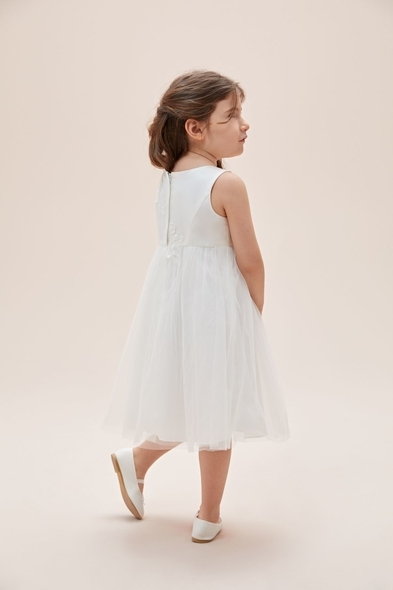 Oleg Cassini - Askılı Çiçek İşlemeli Tül Etekli Çocuk Elbisesi (1)