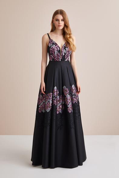 Viola Chan Premium - Askılı Çiçekli Siyah Mor Saten Uzun Abiye Elbise
