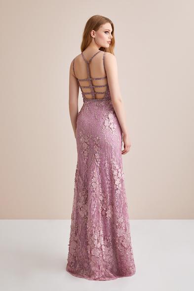 Viola Chan - 3 Boyutlu Pembe Dantel İşlemeli Uzun Abiye Elbise (1)