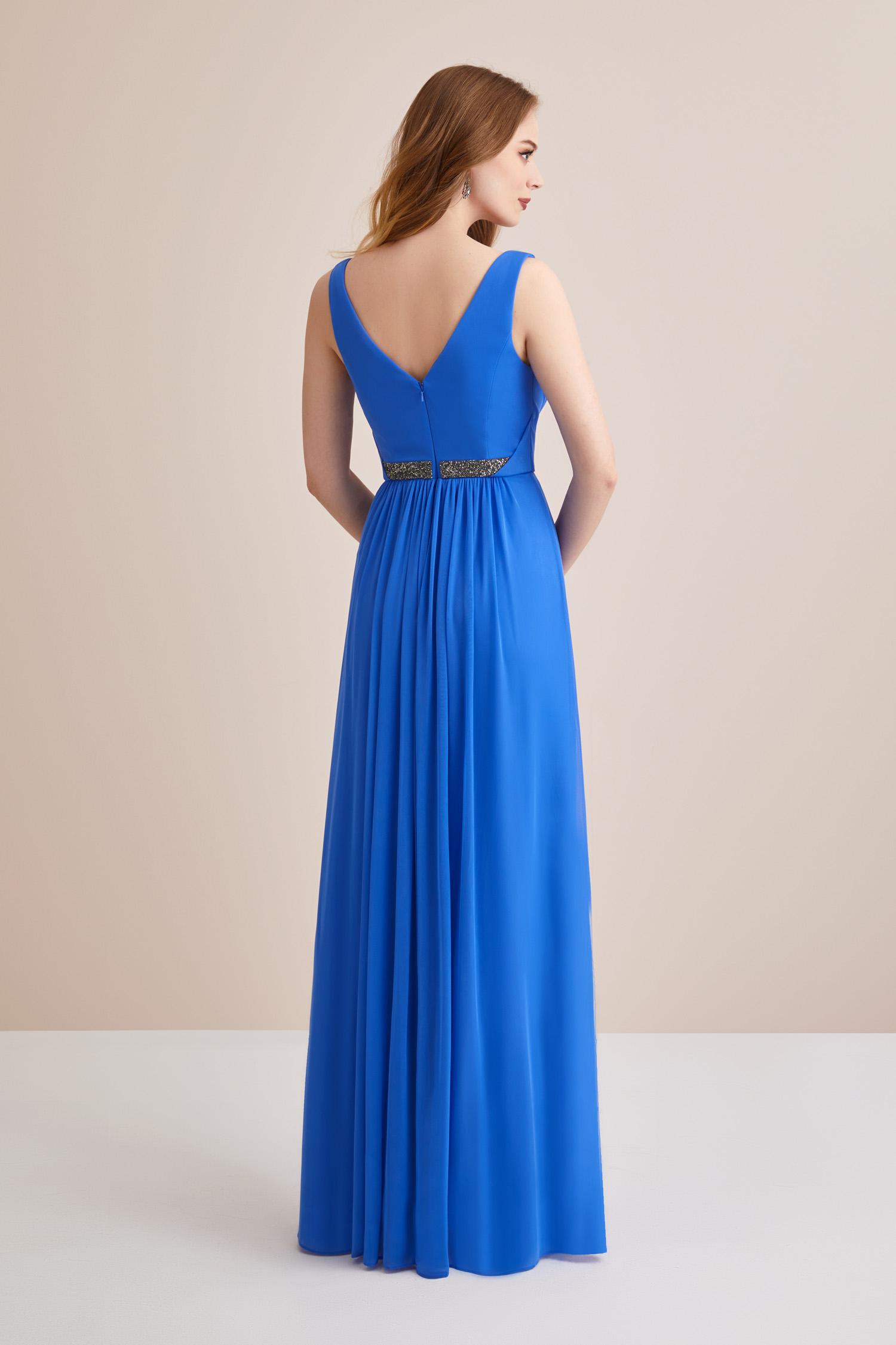 Mavi Askılı Kemerli V Yaka Uzun Abiye Elbise - Thumbnail
