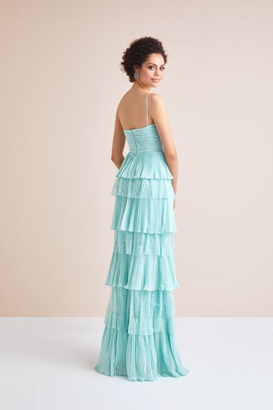Viola Chan - Askılı Mint Yeşili Dantel Şifon Uzun Abiye Elbise (1)