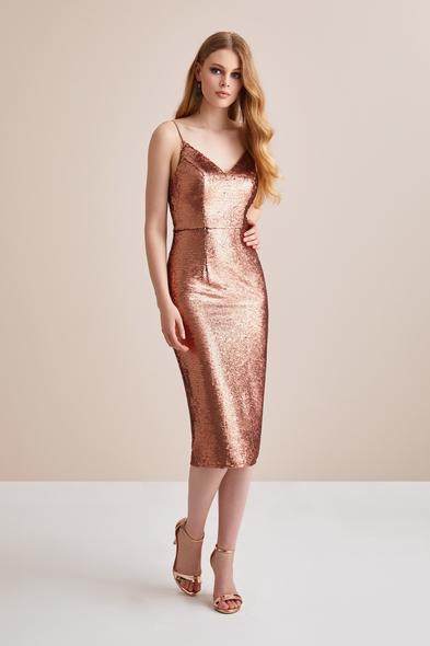 Bronz Renginde Askılı Payet İşlemeli Elbise - Oleg Cassini