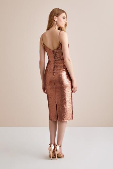 - Bronz Renginde Askılı Payet İşlemeli Elbise - Oleg Cassini