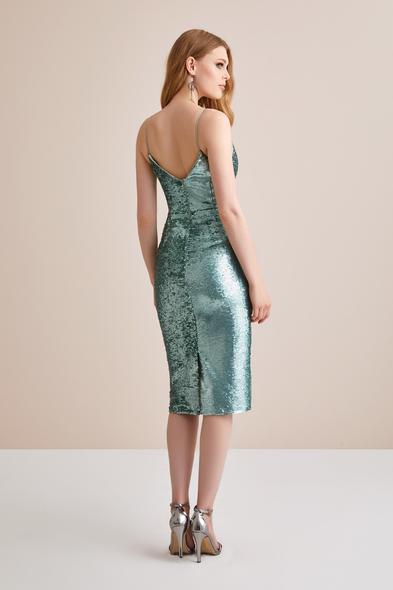 - Mint Yeşili Askılı Payet İşlemeli Elbise - Oleg Cassini