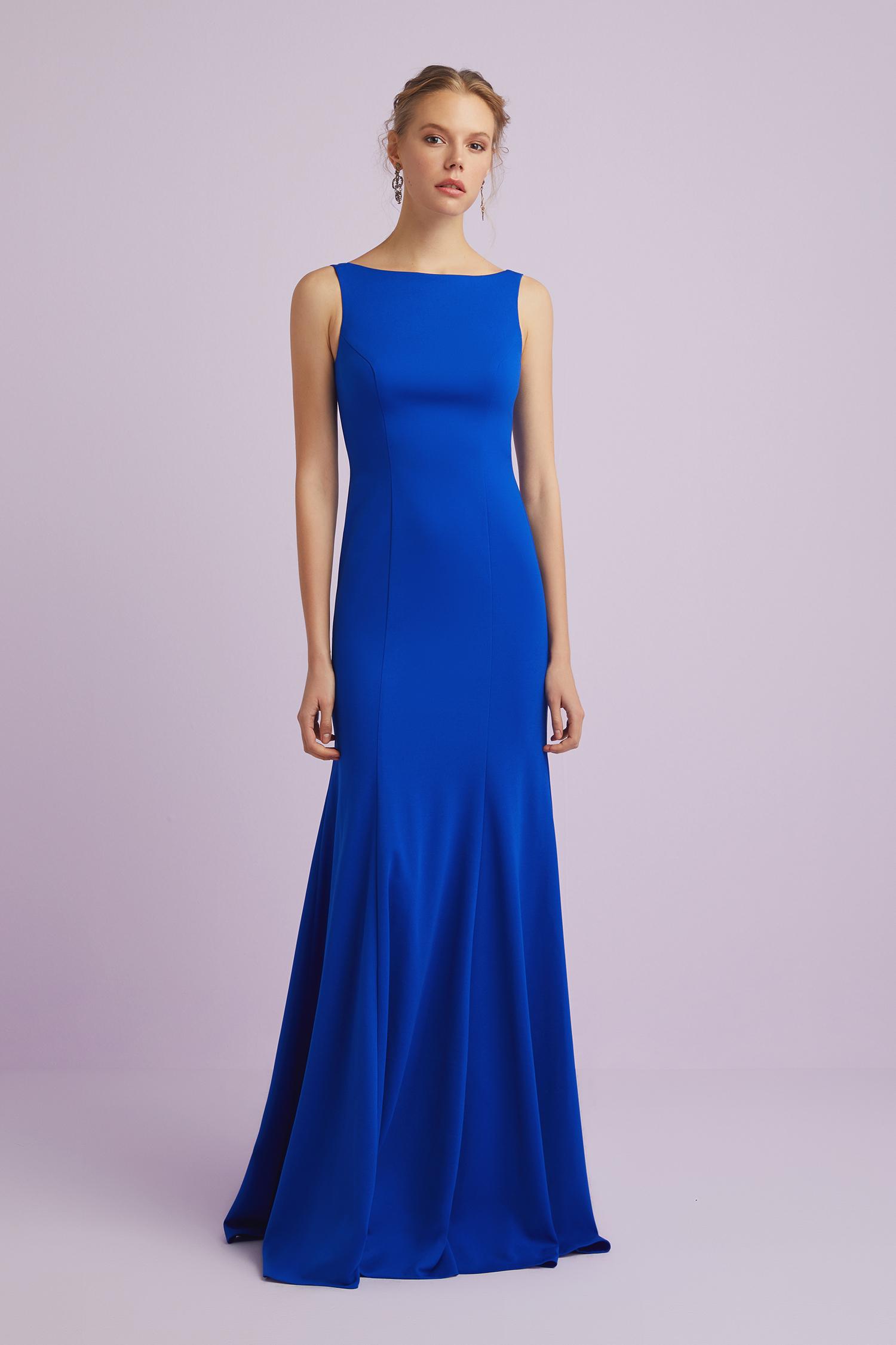Askılı Saks Mavisi Krep Abiye Elbise