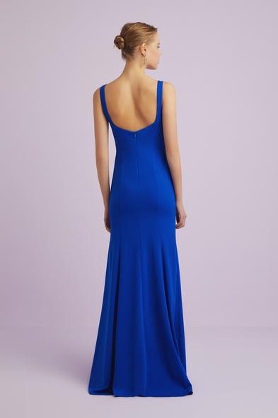 - Askılı Saks Mavisi Krep Abiye Elbise - Oleg Cassini