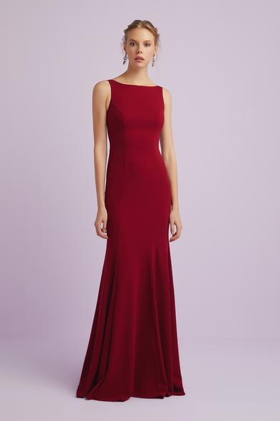 Askılı Şarap Rengi Krep Abiye Elbise - Oleg Cassini