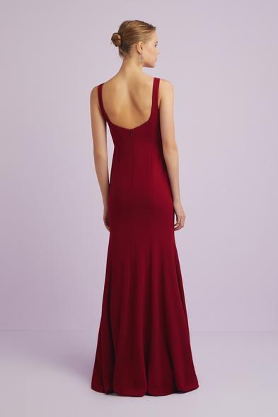 - Askılı Şarap Rengi Krep Abiye Elbise - Oleg Cassini