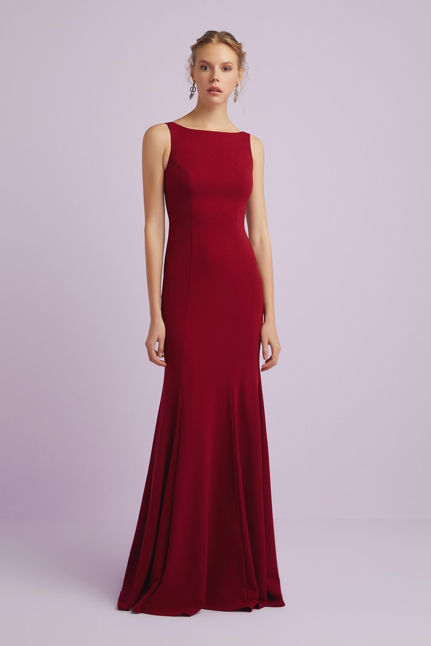 Askılı Şarap Rengi Krep Abiye Elbise - Thumbnail