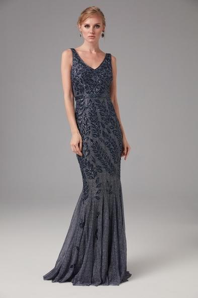 Viola Chan - Askılı Uzun Lacivert Pullu Gri Gece Elbisesi