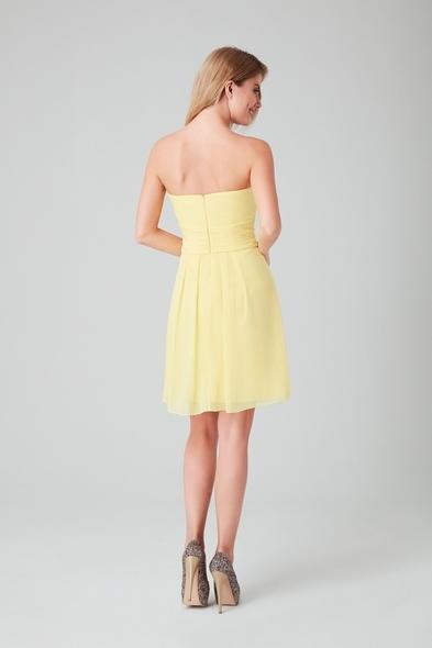 - Sarı Straplez Şifon Kısa Abiye Elbise - Oleg Cassini