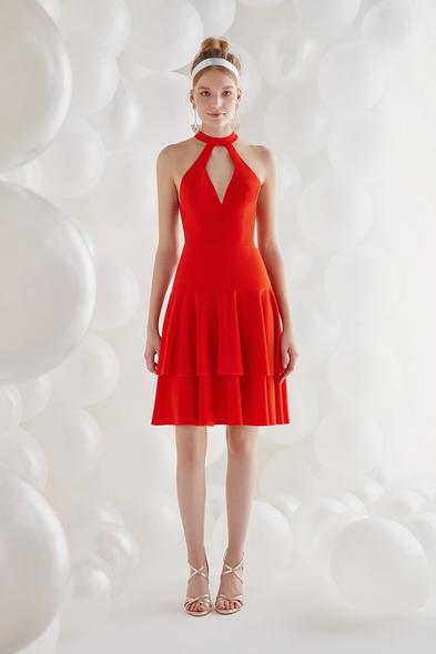 Oleg by Oleg Cassini - Ateş Kırmızısı Halter Yaka Krep Kısa Abiye Elbise