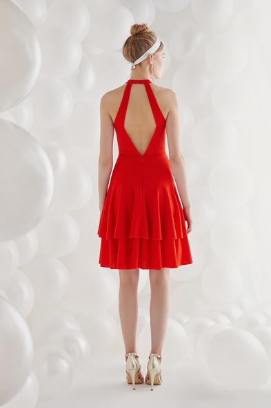 Oleg by Oleg Cassini - Ateş Kırmızısı Halter Yaka Krep Kısa Abiye Elbise (1)