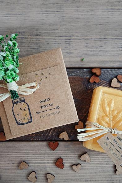 Bridalook - Bal Renkli Kuru Çiçek Süslemeli Kutu Sabunlar