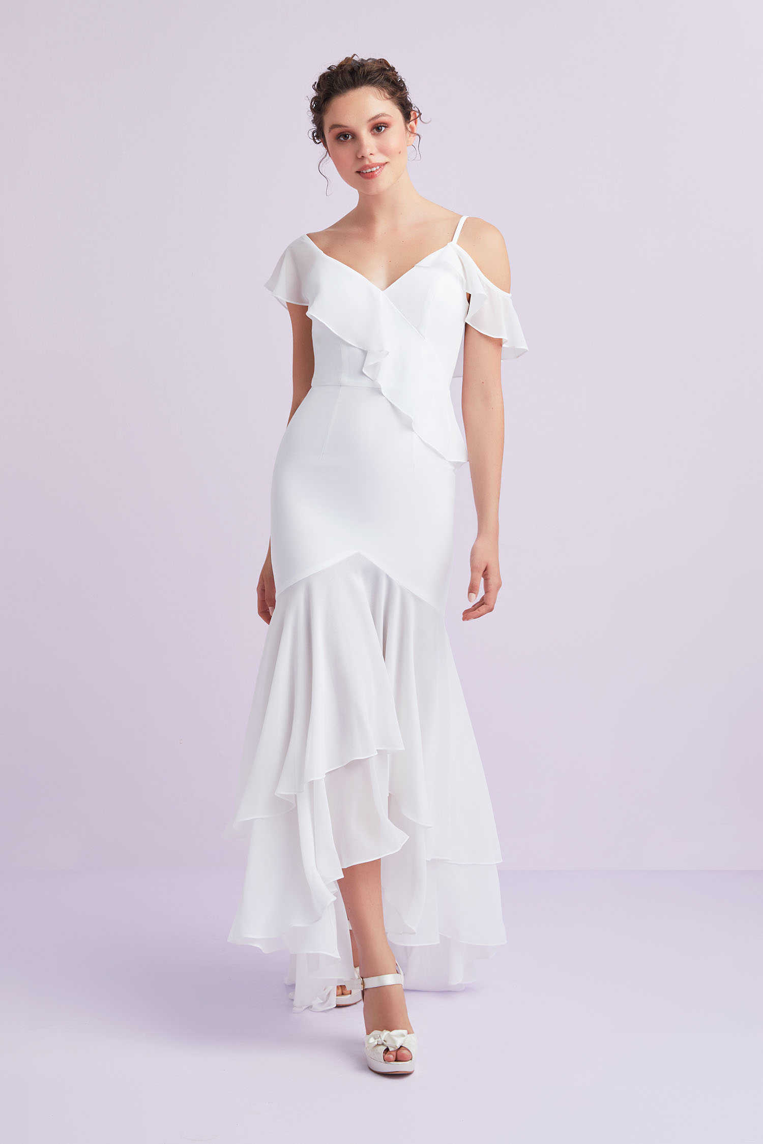 Beyaz Askılı Önü Kısa Arkası Uzun Şifon Büyük Beden Nikah Elbisesi - Thumbnail
