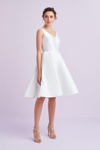 Beyaz Askılı Saten Kısa Büyük Beden Nikah Elbisesi - Oleg Cassini