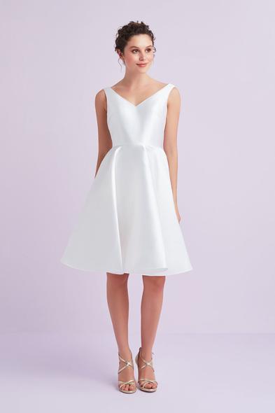 - Beyaz Askılı Saten Kısa Büyük Beden Nikah Elbisesi - Oleg Cassini